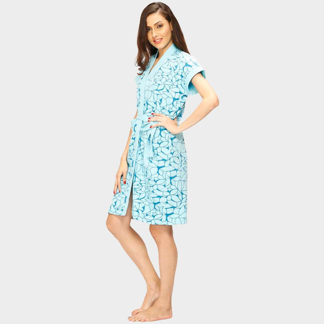 Blue Printed Water Absorbent Cotton Bathrobe