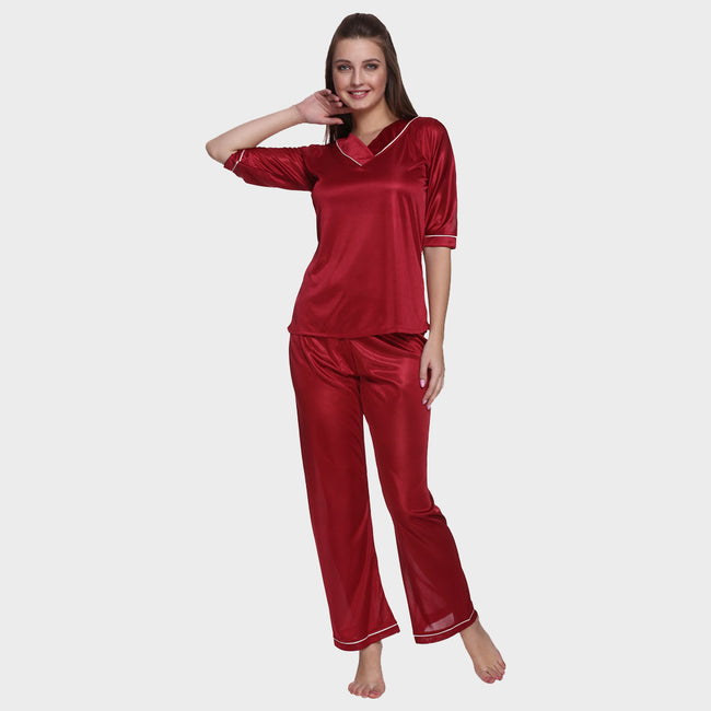 Scarlet Red Satin Nightsuit