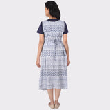 White Printed Cotton Maternity Dress