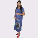 Royal Blue Printed Cotton Maternity Dress