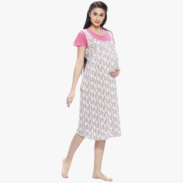 705b220534c0b Daisy White & Pink Hosiery Printed Maternity Dress – Vixenwrap