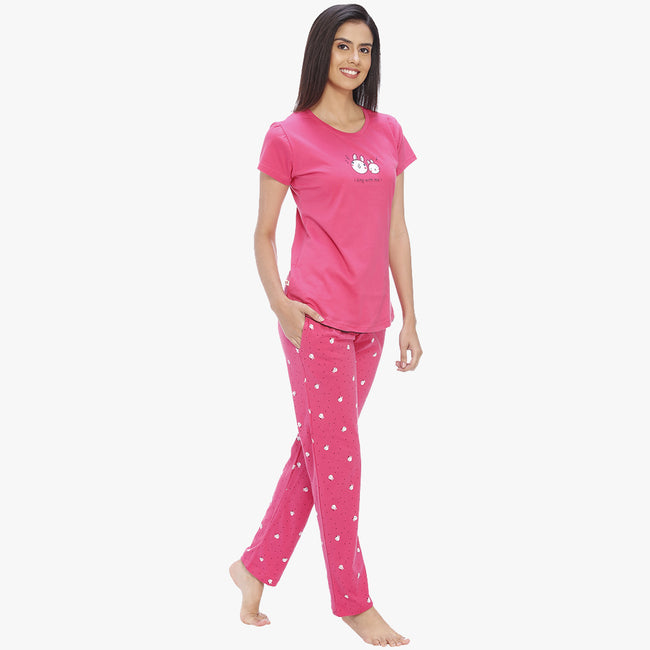 Vixenwrap Hot Pink Hosiery Printed Top & Pyjama Set