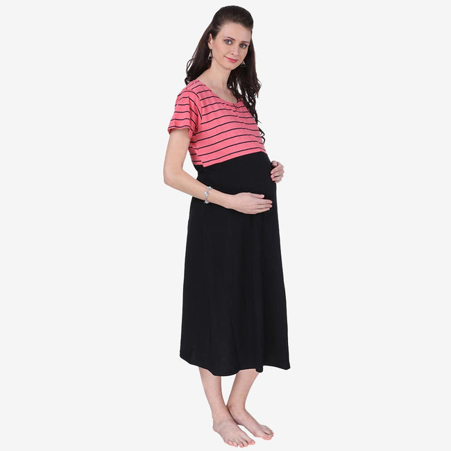Salmon Pink & Black Striped A-Line Maternity Dress