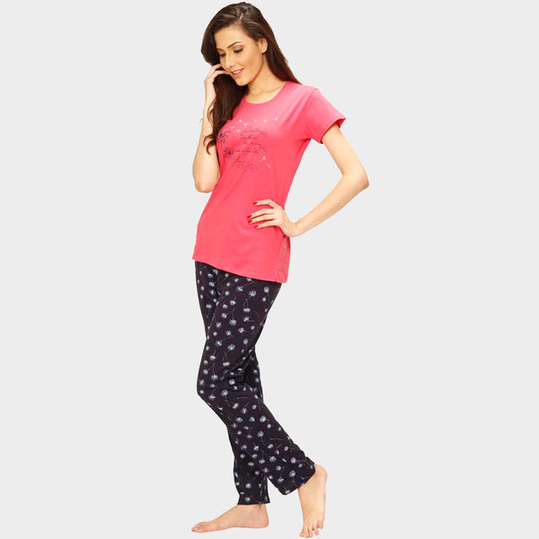 Vixenwrap Cute Pink & Blue Printed Top & Pyjama Set
