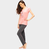 Vixenwrap Peach Pink & Grey Printed Top & Pyjama Set