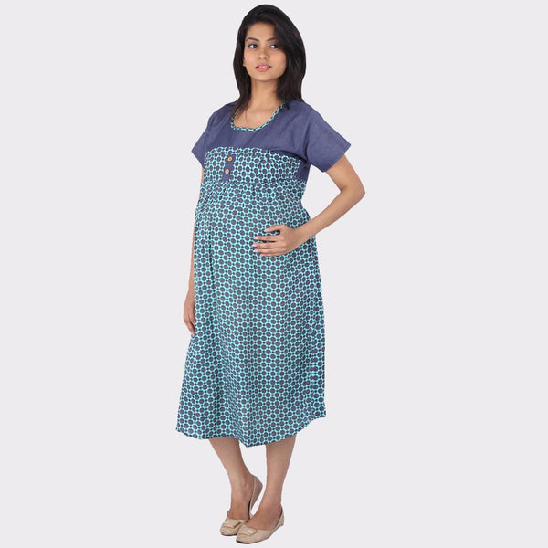 Sapphire Blue Printed Denim Maternity Dress