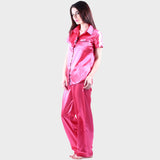 Scarlet Pink Solid Satin Nightsuit