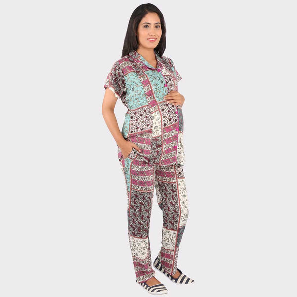 Multicolor Top & Pyjama Maternity Set