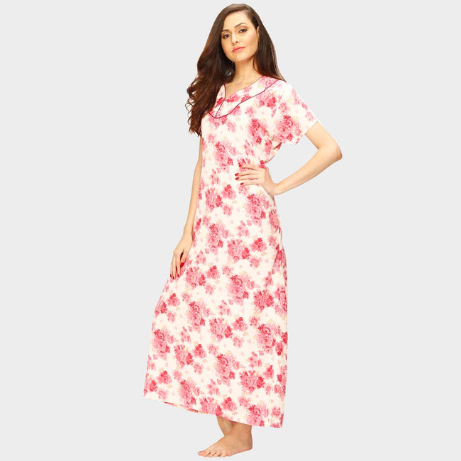 Vixenwrap Whte & Red Floral Print Nighty