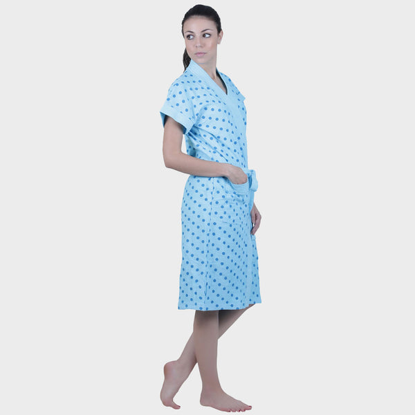Sky Blue Polka Print Water Absorbent Cotton Bathrobe