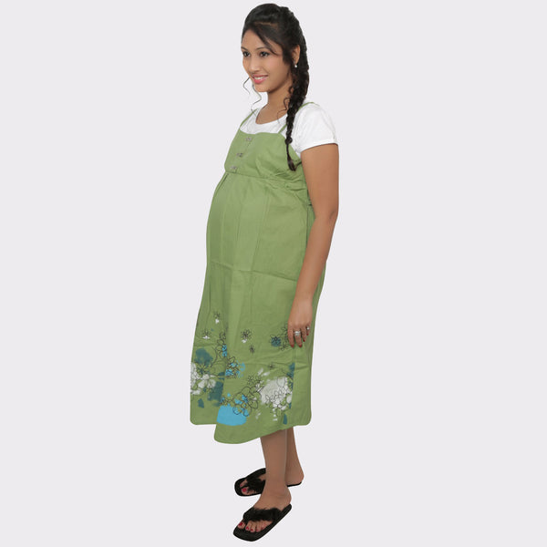Light Green Floral Cotton Maternity Dress