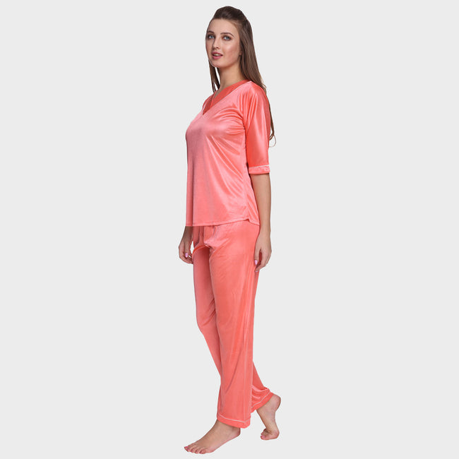 Coral Pink Satin Nightsuit