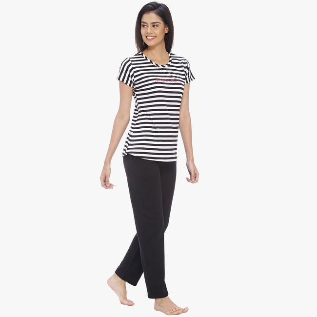 Vixenwrap Absolute Black Hosiery Striped Top & Pyjama Set