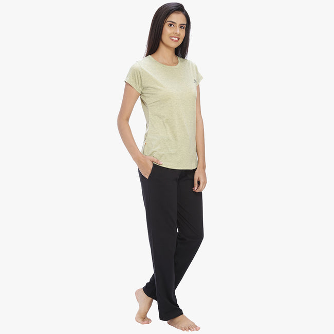 Vixenwrap Olive Green & Black Hosiery Solid Top & Pyjama Set