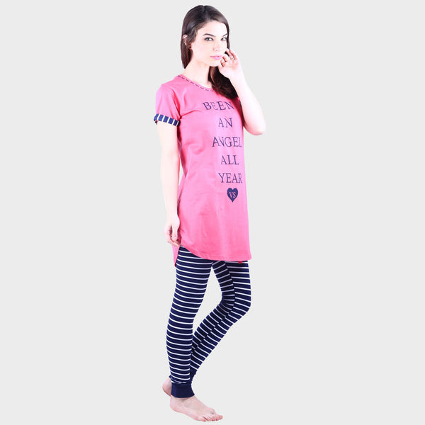 Rose Pink & Midnight Blue Printed Top & Pyjama Set