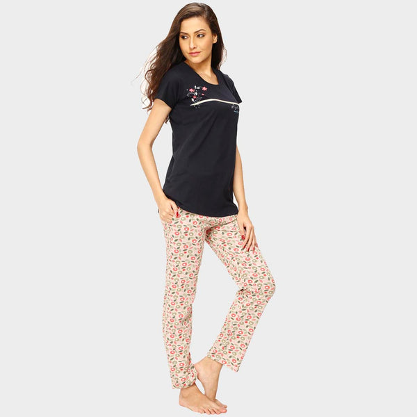 Vixenwrap Navu Blue & Olive Green Printed Top & Pyjama Set