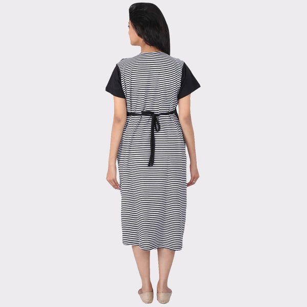 White & Black Stripes Cotton Maternity Dress