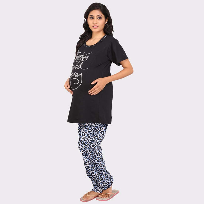 Black::Blue Printed Top & Pyjama Maternity Set