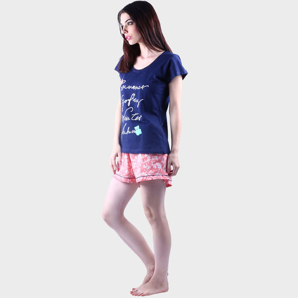 Navy Blue & Rouge Pink Printed Top & Shorts Set