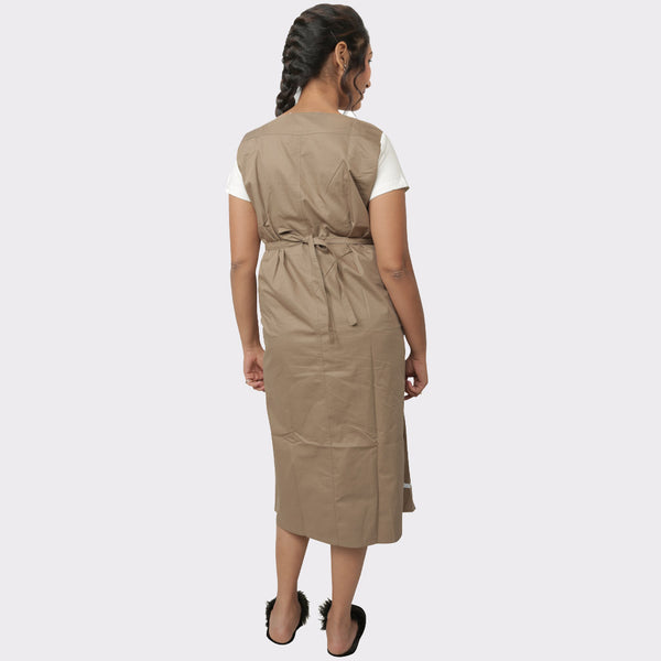 Beige Solid Cotton Maternity Dress