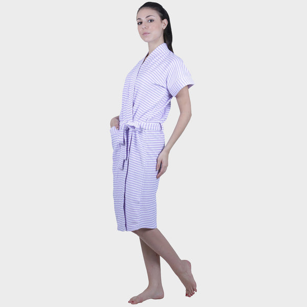 Lavender Stripes Water Absorbent Cotton Bathrobe