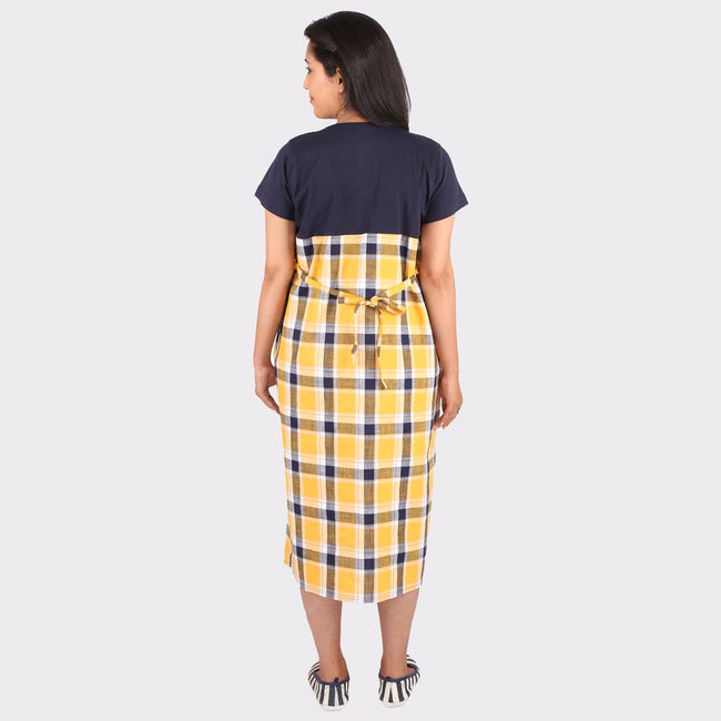 Yellow Checkered Maternity Dress