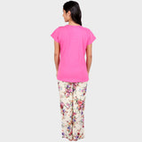 Bubblegum Pink Floral Printed Top & Pyjama Set