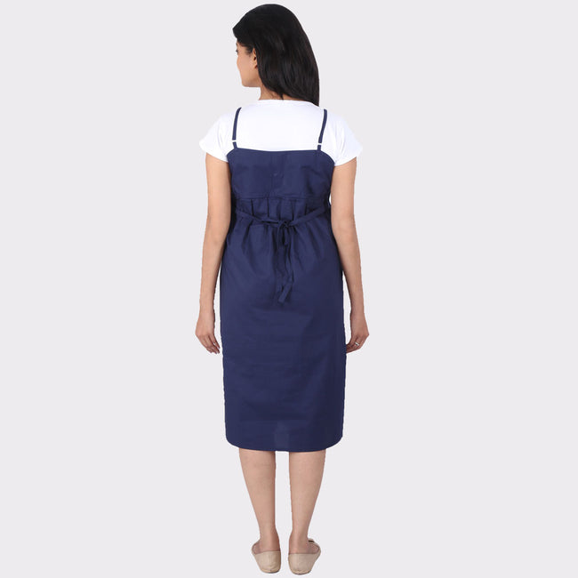 Navy Blue Floral Cotton Maternity Dress