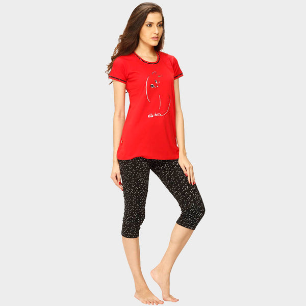 Vixenwrap Red & Black Printed Top & Capri Set