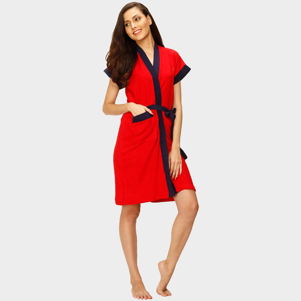 Red Solid Water Absorbent Cotton Bathrobe