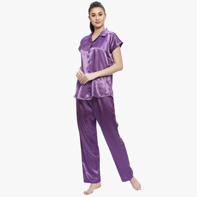 Deep Purple Satin Nightsuit