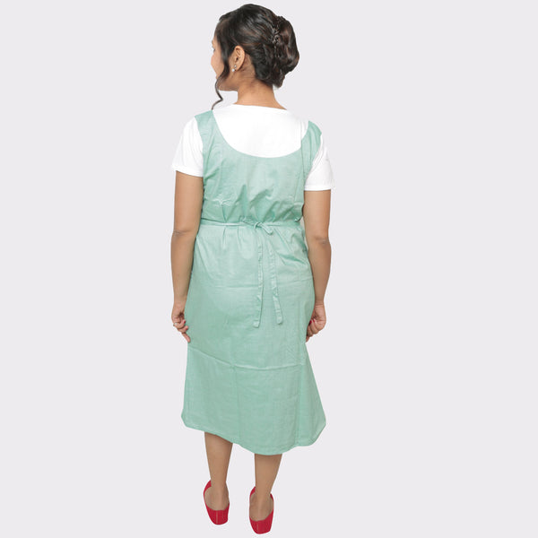 Light Green Solid Cotton Maternity Dress