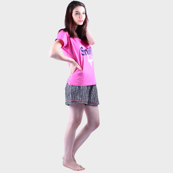 Fuscia Pink & Black Striped Top & Shorts Set