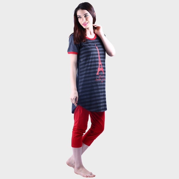 Dark Grey & Red Printed Top & Pyjama Set