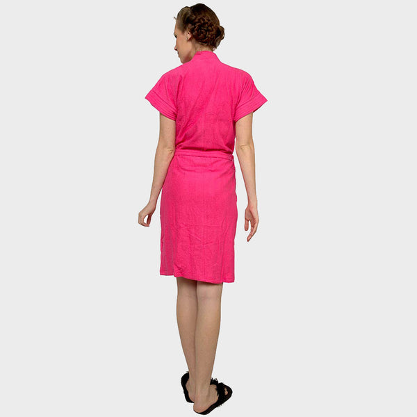Hot Pink Solid Water Absorbent Cotton Bathrobe