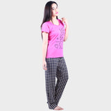 Cute Pink & Navy Blue Checkered Top & Pyjama Set