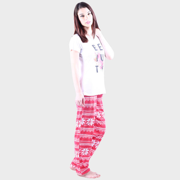 White & Punch Pink Printed Top & Pyjama Set