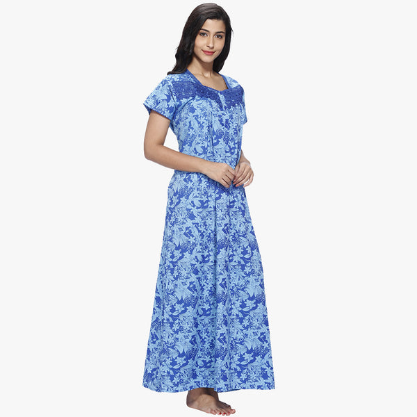 Vixenwrap Blue Floral Print Cotton Nighty