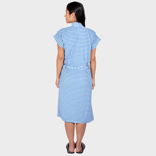 Cerulean Blue Stripes Water Absorbent Cotton Bathrobe