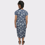 Blue Floral Print Denim Maternity Dress