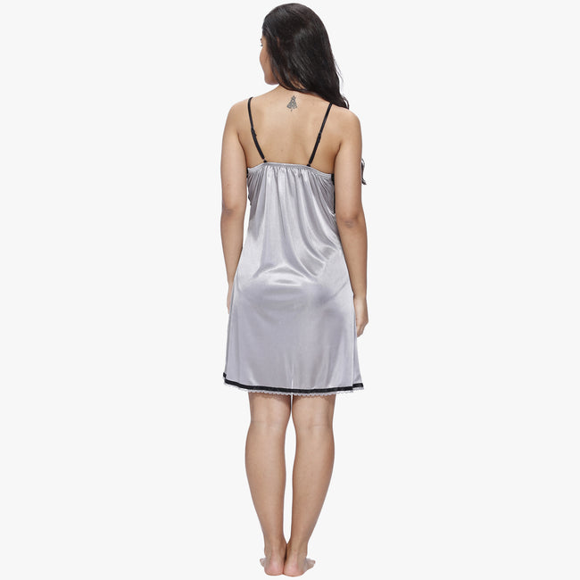 Vixenwrap Cool Grey Satin Babydoll