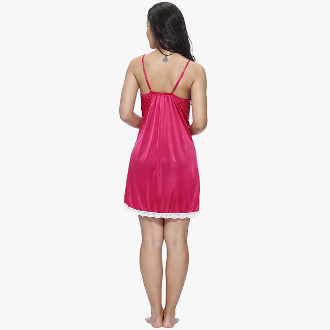 Vixenwrap Hot Pink & White Satin Babydoll