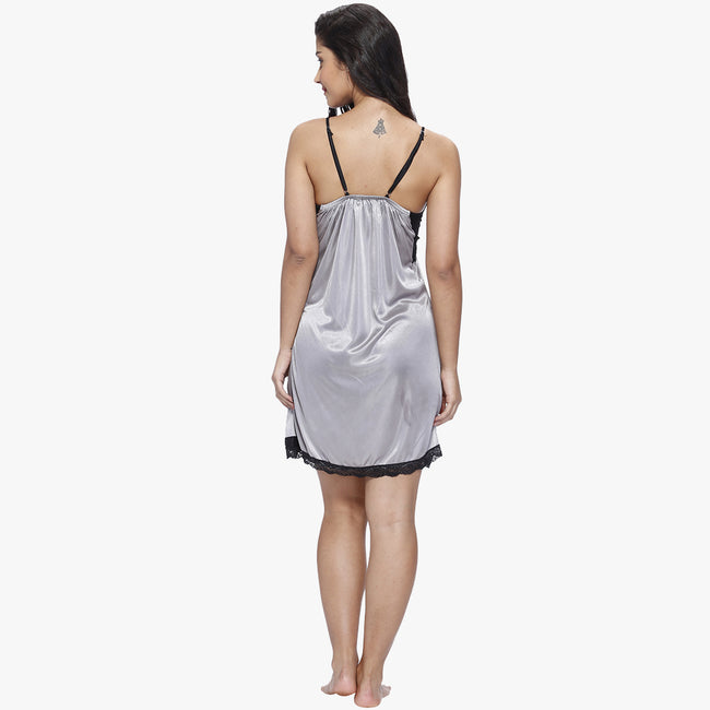 Vixenwrap Cloud Grey Satin Babydoll