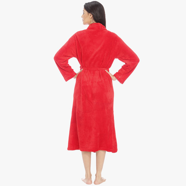 Mystic Red Fleece Bathrobe