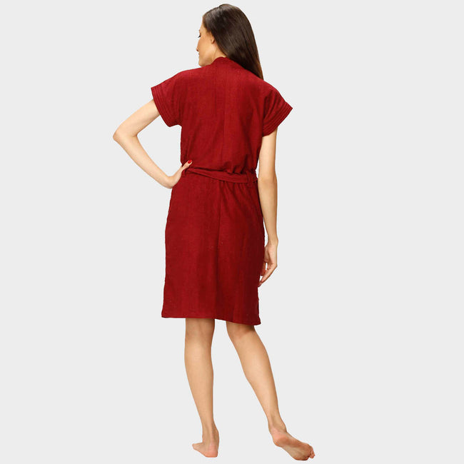 Berry Red Water Absorbent Cotton Bathrobe