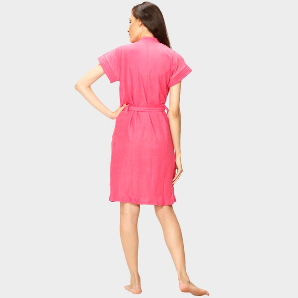 Strawberry Pink Solid Water Absorbent Cotton Bathrobe
