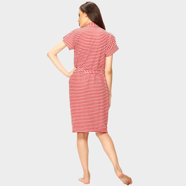 Red Stripes Water Absorbent Cotton Bathrobe