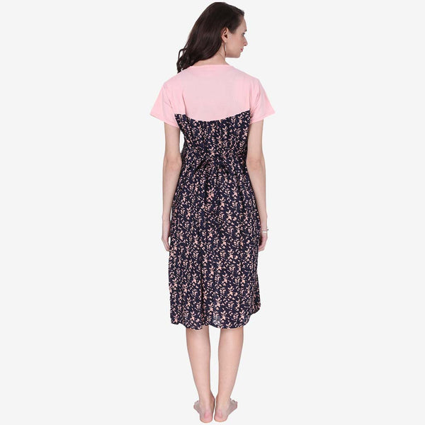 e80a25c645 Coral Pink and Blue Printed A-Line Maternity Dress – Vixenwrap