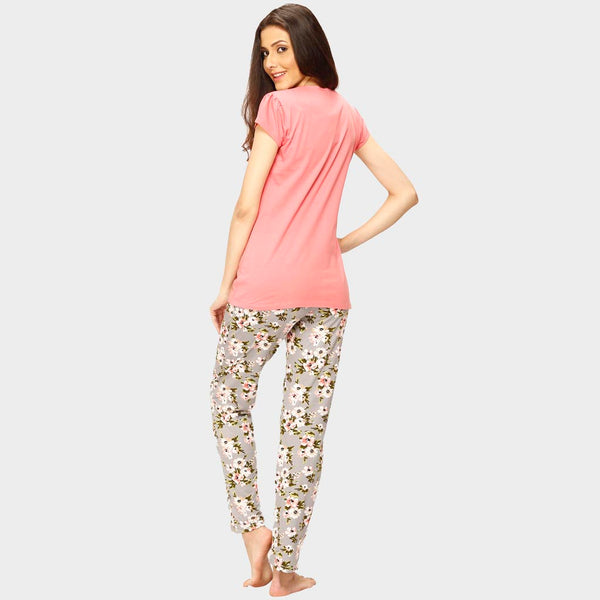 Vixenwrap Cute Pink & Grey Printed Top & Pyjama Set
