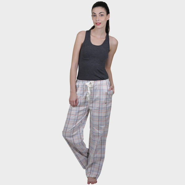 Pearl White Checkered Cotton Pyjama